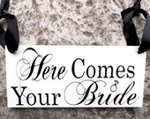 Here Comes Your Bride with And they lived Happily ever after. 8 X 16 inches, 2-Sided. Wedding Sign with Ring Accent.  Bridal Wedding Sign.