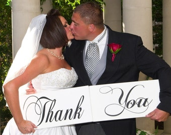Thank You Signs for your Thank You Cards. 8 X 16 inches, 1-sided.  Wedding Photo Props, Bridal Wedding Signs, Reception Signs.