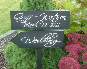 Wood Arrow Sign with Bride & Groom Names and Date.  Directional Wedding Sign with Arrow for your Wedding, Ceremony, Reception or Event.