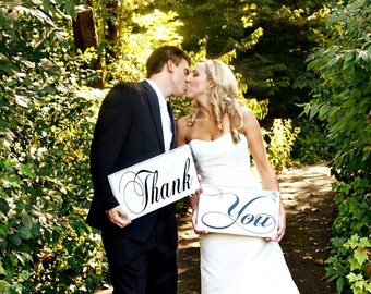 Photo Props, Thank You Signs for Your Thank You Cards, Wedding Signs, Reception Table Signs, Bridal Signs. Two (2) signs, 8 X 16 inches.