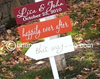 Custom Wedding Directional Signs with Arrows for Fall, Autumn, Thanksgiving Wedding, Ceremony, Reception or Special Event.