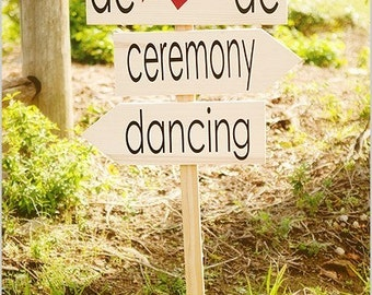 Rustic Wood Signs, unpainted (Bare) wood Wedding Directional Signs with Arrows. Wedding, Reception, Beach Wedding, Ceremony or Event.