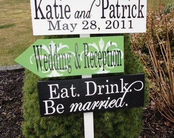 Custom Directional Wedding Signs with Arrows and Damask Pattern.  Personalized, unique, wooden wedding signs.  Eat, Drink, Be Married.