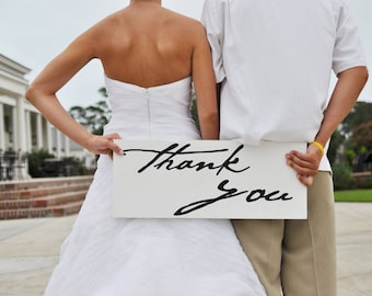 Thank You and/or Just Married Sign, Bridal Wedding Sign, Thank You Cards, Photo Booth, Wedding Photo Props, Reception Sign. 8 X 24 inches.