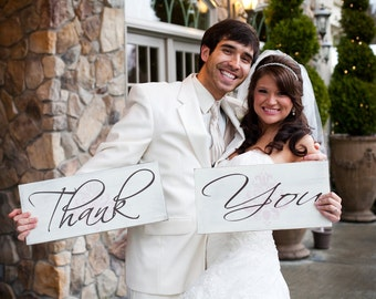 Vintage Wedding Signs with Damask, Props, Thank You Cards, Thank You Signs, Marriage Signs, Bridal Signs. (2) 8 X 16 inch, 1-Sided Signs.