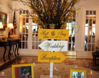 Wedding Directional Arrow Signs with Damask Pattern and Base.  Custom Wedding Signs for Wedding, Ceremony, Reception or Special Event.
