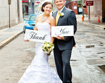 Wedding Props, Thank You Cards, Thank You Wedding Signs, Photo Booth Props, Bride Signs. Handmade, Two (2) signs, 8 X 16 inches.
