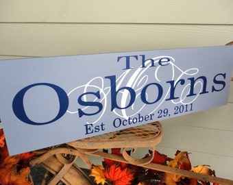 Last Name Sign with Monogram and Wedding or Established Date. For the Bride and Groom, Birthday or Anniversary Gift Sign. 10 X 24 inches.