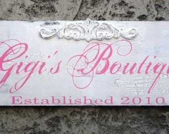 Business Sign, Personalized Custom Business Advertisement with Logo Sign for Vendors, Boutiques and Craft Shows. 10 X 24 inches.