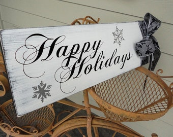 Happy Holidays, Season's Greetings, Merry Christmas, Happy Hanukkah Sign for your Holiday Gifts. Photo Prop, Holiday Card idea. 8 X 24 inch.