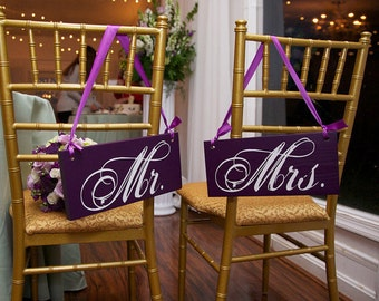 Wedding Chair Signs, Mr. and Mrs. and/or Thank and You.  Wedding Signs for your Photo Props, Reception & Wedding Thank You Cards.