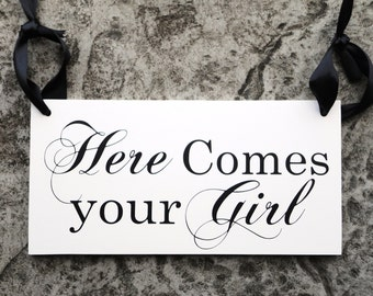 Custom Wedding Sign. Here Comes your Girl with And they lived Happily ever after. 8 X 16 inch, 2-Sided. Bridal Sign, Marriage Sign.