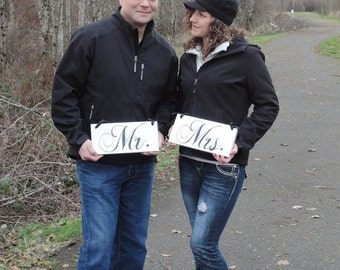 Wedding Chair Signs, Mr. and Mrs. and/or Thank and You. 6 X 12 inches. Wedding Seating Signs, Photo Props, Reception Signs.