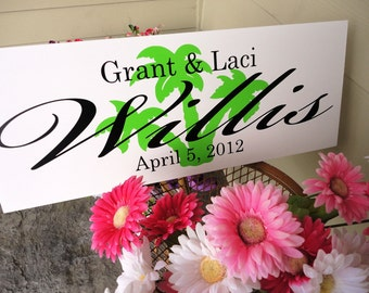 Family Name Sign with First Names, Established Date and Custom Background Design, Last Name Sign, Home Sign. 10 X 24 inches. Gift Sign.