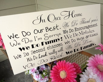Typography Sign, We Do Sign, In Our Home, In this Home We Do, House Rules, Word Art, Family Rules, Lyrics, Music, Family Sign, Vows.