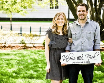 Save the Date Sign with Couples Names and Date. Announce the Engagement of the Couple with their upcoming Wedding Date. 8 X 24 inches.