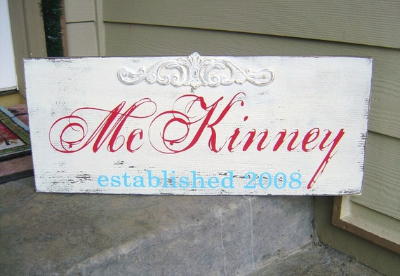 Last Name Sign with Embellishment and Est. or Wedding Date. Family Name Sign, Home Sign, Anniversary, Wedding Gift or Holiday Gift Sign.