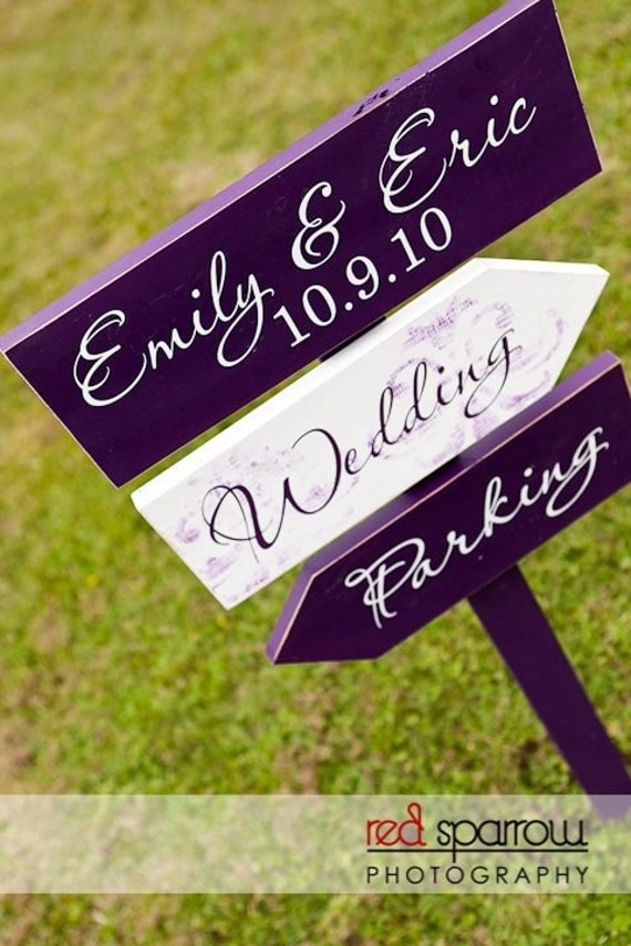Custom Wedding Directional Arrow Sign with Damask.  This Wedding Sign may be used for Weddings, Receptions, Events, Cocktails & Parking.
