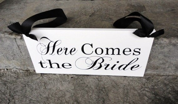Sign, Wood Wedding Sign, Here Comes the Bride and/or Just Married. 8 X 16 inches, Reception Sign, Marriage Sign, Bridal Sign.