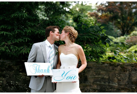 Thank You Signs, Engagement Signs, Reception Signs, Wedding Signs, Thank You Notes or Cards, Bridal Signs. (2) 8 X 16 inch, 1-Sided Signs.