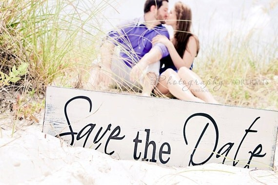 Vintage Save the Date, We're Engaged or Thank You Sign, 2-Sided, 8 X 24 inches.  You choose the 2 sayings.  Engagement Photo Prop.