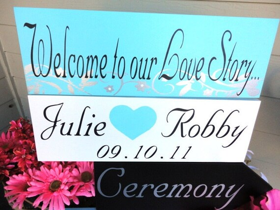 Wedding Signs, Wedding Directional Arrow Signs with Scrollwork & the Wedding Couples Names, Keepsake Sign. Welcome to our Love Story.