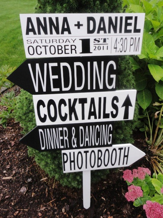 Wooden Wedding Signs.  Five Customized Wedding Directional Signs with Arrows for your Wedding, Ceremony, Cocktails, Dinner & Dancing.