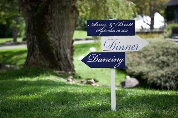 Custom Wedding Signs.  Directional Arrow Signs with Damask pattern.  As seen in Style Me Pretty.  Put on Your Dancing Shoes.