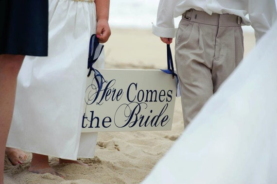 Beach Wedding Sign, Here Comes the Bride and/or And they lived Happily ever after. 8X16 inch, Bridal Sign. Flower Girl, Ring or Sign Bearer.
