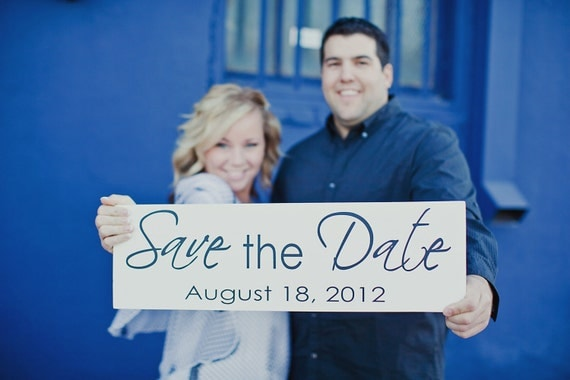 Save the Date with Wedding Date and/or Thank You. Engagement Sign, Wedding Sign, Reception Sign, Thank You Sign, Photo Props. 8 X 24 inches.