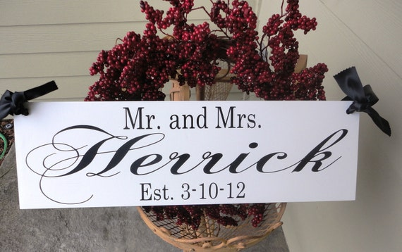 Custom Wedding Sign. Here Comes the Bride and/or Mr and Mrs with Bride & Groom Last Name and Date. 8 X 24 in, Bride Introduction, Reception.