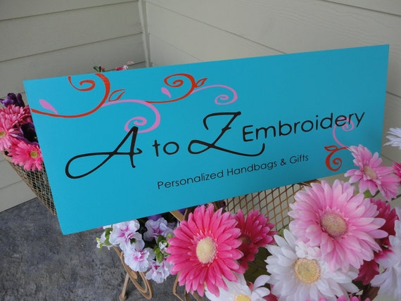 Custom Business Sign, Personalized Custom Business Advertisement Logo Sign, Vendors, Branding and Craft Shows. 10 X 24 Inches.