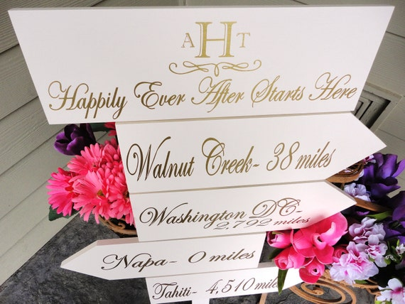 Personalized Wood Directional Arrow Signs with Cities and Miles with Monogram. Happily Ever After Starts Here.