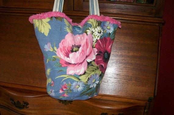Barkcloth Purse Bucket Bag Floral Striped