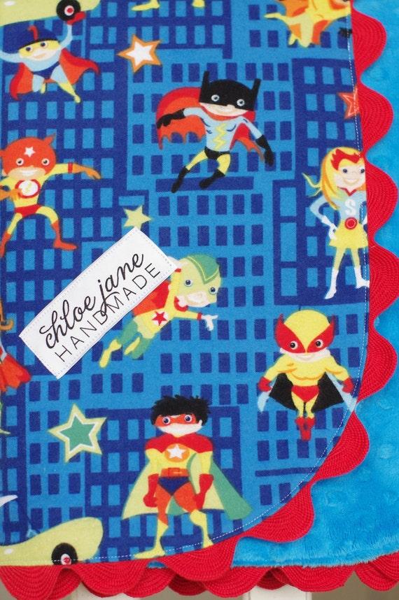 SALE- Baby/Infant Blanket for Boy, Super Soft Minky, Stroller Size (Superhero)