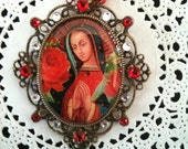 Our Lady of Guadalupe Virgin Mary Bold Red Pendant Necklace