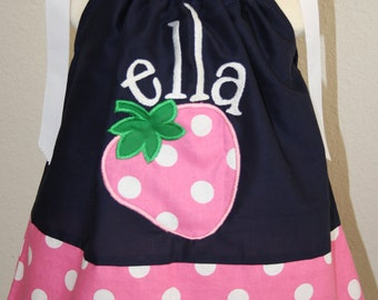 Sweet Strawberry personalized embroidered pillowcase dress