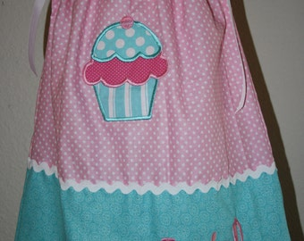Sweet Dreams Cupcake pillowcase dress turquoise and pink - personalized