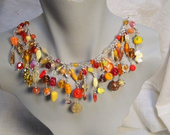 OOAK Vintage Art Glass Confetti Collar - AUTUMN - Sterling