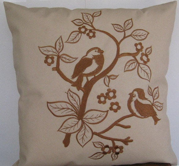 "Embroidered Decorative Pillow Cover - Simply Birds & Blossoms - 18"" x 18"" Tan Pillow with Brown Embroidery(READY TO SHIP)"