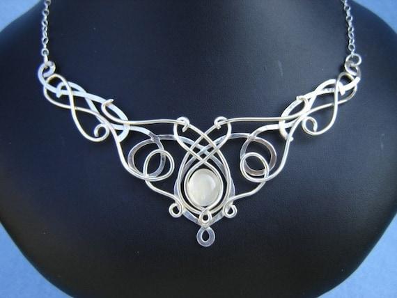 SilverMoon Sterling Necklace, Celtic Necklace, Metalwork Necklace, Elven Necklace, LOTR Necklace, Medieval Renaissance Pendant