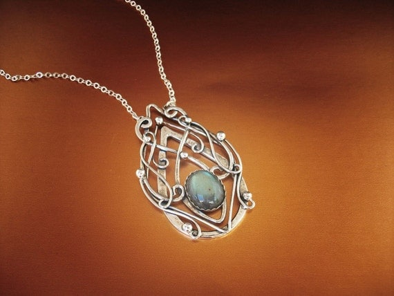 TRULY ELVISH labradorite pendant necklace Sterling silver labradorite necklace celtic jewelry