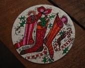 """1969 Vintage Springbok 7"""" CIrcular Christmas Puzzle"""