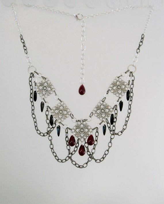 The Widow's Court Necklace - Silver & Gunmetal with Garnet and Black Glass Drops