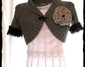 Romantic Smokey Gray Spring Shrug Wrap Caplet Lace sleeves funky french boutique