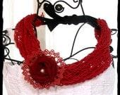 Crimson red Choker Bib Necklace Crochet Doily Fabric English Rose cottage Shabby chic French Market