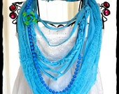 Urban Hippie Chic Statement Necklace Turquoise Boho chic Scarf Cowl Bohemian Womens jewelry Accessories Eco