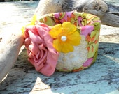 Gypsy Fabric Cuff Spring corsage Urban Shabby chic Rose embellished Bracelet Bangle Vintage french country fabric