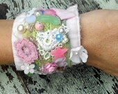Romantic Beaded Kei Cuff Bracelet Vintage beads Applique Embellished Jewelry Fabric cuff Cottage chic Shabby chic