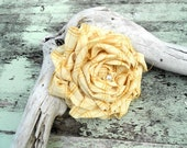 Autumn Yellow Huge Romantic rose brooch Country chic cowgirl Rustic ranch accessory Great Stocking stuffer